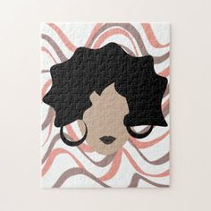 Shop Woman Wavy Black Hair Stylist Beauty Face Jigsaw Puzzle created by DreamBigDigital. Brown Hair, Black Hair, Parting Hair, Animal Skulls, Pink And Green, Jigsaw Puzzles, Design Products, Stylists, Kids Rugs