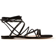 Gianvito Rossi Black Suede Libra Flat Sandals (€995) ❤ liked on Polyvore featuring shoes, sandals, black suede flats, black flat shoes, black suede sandals, suede flat sandals and black shoes