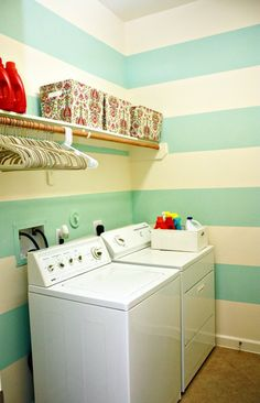 stripes & rod for hangers over washer/dryer  -make sure washer dryer is high enough to cover plumbing connections