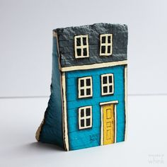 Row House Hand Painted Rock