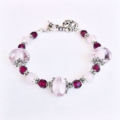 Pink Lampwork Glass & Czech Glass Beaded Bracelet by SparklyBliss