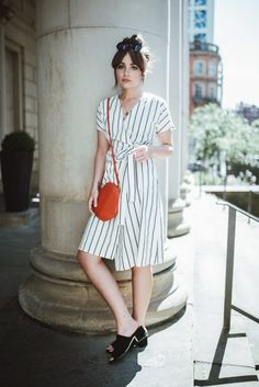 Vero Moda Stripe Wrap Striped Dress Teamed With Round Crossbody Wristlet Clutch And Black Mules Street Style Tumblr