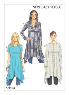 Vogue Patterns V9224 sewing pattern: MISSES'/MISSES' PETITE HANDKERCHIEF-HEM TUNICS