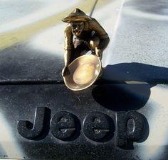 Statue of Gold Panner Gold Panning  Hood Ornament Emblem Truck Jeep Miner GOLD