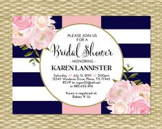 This bridal shower invitation boasts bold navy blue and white stripes, a hint of gold glitter, and beautiful pink watercolor peonies. Customizable for any event - perfect for an elegant bridal brunch, bridal tea party or birthday party. Printable (DIY - you print) or Printed - your