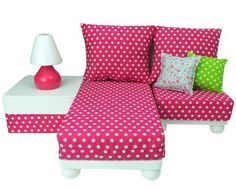 18 Inch Doll Furniture Set: White Chaise, Chair, Ottoman, Lamp, Hot Pink/White Polka Dot Cushions, 2 Pillows. -this would be perfect to put in the shelf that mom is giving us because it is low to the ground.