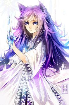 Art Trade with Kaminary-san by =Harumagai on deviantART. Anime girl.....pretty.....purple hair