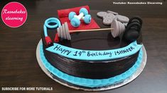 Gym fitness theme Birthday cake for husband wife boyfriend girlfriend men women male female friend with name Birthday Cakes For Men, Cartoon Birthday Cake, Birthday Cake For Boyfriend, Friends Birthday Cake, Animal Birthday Cakes, Frozen Birthday Cake, Teen Birthday, Cake Decorating Classes, Easy Cake Decorating