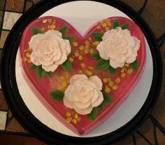 Gelatin art - 3 white roses - raspberry cheesecake flavored. 100 edible ALL GELATIN    http://www.thejellolady.com
