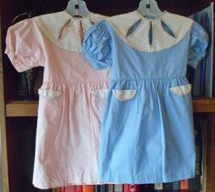 1950's Pique Cotton Little Girls' DRESS ~ Available in Pink OR Blue ~ NEW Old Store Stock! ~ Size 3 / 4 by VMaleDetroitVintage on Etsy