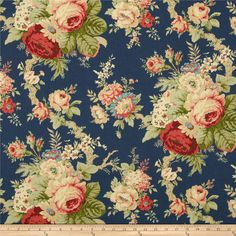 Waverly Sanctuary Rose Heritage from @fabricdotcom Screen printed on cotton duck; this versatile medium weight fabric is perfect for window treatments (draperies, valances, curtains and swags), accent pillows, duvet covers and upholstery. Colors include sage, green, pink, coral, ivory, cream, tan, red, blue and dark blue. This fabric has 45,000 double rubs.