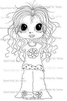 INSTANT DOWNLOAD Digital Digi Stamps Big Eye Big Head Dolls Messy Bessy IMG855 My Besties By Sherri Baldy