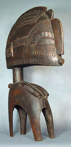 Large Baga Nimba mask with stand, Guinea, Africa, stained wood.