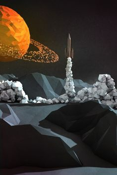 Low-poly space rocket ship, spaceships, rocketships, grey moon, yellow-orange planet, space, lowpoly, low-polygons, digital illustration des...