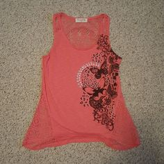 Wound up lace pink butterfly top Worn once! Wound Up Tops Tank Tops