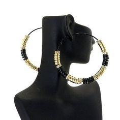 Basketball Wives POParazzi Inspired Rondelle 70mm Hoop Earrings GD/ Bk