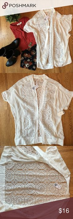 F21 Woven cardigan/kimono.  Beautiful!  NWT! Beautiful off-white cardigan with lace.  Shell is rayon/lace is polyester.  Great quality! Forever 21 Tops Tunics