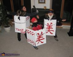 Michelle What to wear to a freezing cold football game during Halloween? Wear as many layers of clothing and cover up with a Chinese Food Take-Out box!  sc 1 st  Pinterest & DIY Takeout box costume (with chopsticks for hair sticks - cute ...