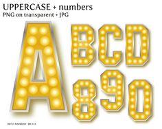 Hollywood Lights Digital Letters And Number Cliparts PNG JPG Alphabet Clip Art Golden