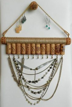Your place to buy and sell all things handmade – Organization – Jewelry Cork Necklace, Necklace Holder, Key Necklace, Hanging Jewelry, Art Deco Jewelry, Jewellery Storage, Jewelry Organization, Wine Cork Jewelry, Diy Jewelry Holder