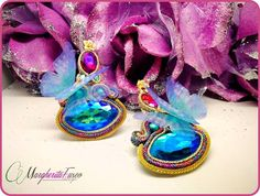 handmade soutache earrings with crystals and butterfly