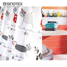 Shower Curtain Polyester Cloth Waterproof Moldproof Cartoon Tape Gutters Bathroom Curtain Cat 180cm*180cm/71*71''  With 12 Hooks - ICON2 Luxury Designer Fixures  Shower #Curtain #Polyester #Cloth #Waterproof #Moldproof #Cartoon #Tape #Gutters #Bathroom #Curtain #Cat #180cm*180cm/71*71'' # #With #12 #Hooks