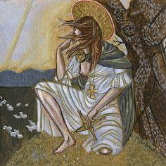 The painting of the Goddess Brigid or St. Brigid inside the icon box. St Brigid, Celtic Goddess, Celtic Mythology, Celtic Christianity, Brigid's Cross, Vikings, Triple Goddess, Celtic Art, Gods And Goddesses