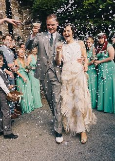 Incorporate the festive personality of the Roaring Twenties into your wedding day with one of these 18 gorg gowns.