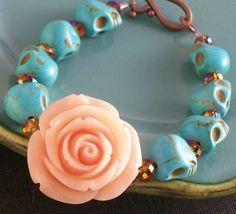 Sugar Skull Jewelry Day of the Dead Orange Blush Rose and Sugar Skull Bracelet Halloween jewelry