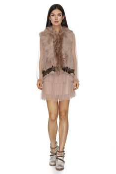 Vero Milano delicate all-natural rabbit fur vest in a dusty rose nude shade that will compliment just any outfit.