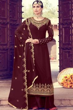Designer #Pakistani Clothes - #Maroon Georgette #Palazzo Suits Online #UK - #Shopkund Style Palazzo, Palazzo Dress, Palazzo Suit, Bollywood Dress, Indian Bollywood, Bollywood Fashion, Pakistani Dresses, Designer Wear, Designer Dresses