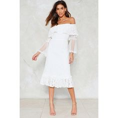 Nasty Gal Do It in the Name of Lace Dress (4.765 RUB) ❤ liked on Polyvore featuring dresses, white, off-the-shoulder lace dresses, white bell sleeve dress, white off shoulder dress, lace dress and white midi dress