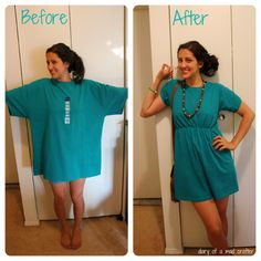 T-Shirt Remodel: A Tutorial  Begin with an XL tee. Remove sleeve and reset at proper shoulder. Take in sides. Add elastic up sleeves for ruching.  Add elastic at empire waist for definition.