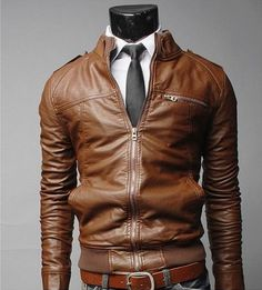 2013 Washed Brown Motorcycle Leahter Jacket for Men