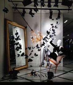 LANVIN Madison Ave New York Butterfly Invasion photo by Mizhattan pinned by Ton van der Veer Fashion Window Display, Window Display Retail, Christmas Window Display, Window Display Design, Retail Displays, Shop Displays, Visual Merchandising Displays, Visual Display, Boutique Interior