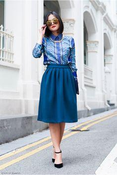 "(via Blue Forever21 Shirts, Teal Little Paris Skirts   ""RAISE OF RENAISSANE"" by ZEANVO   Chictopia)"