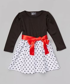 Look at this #zulilyfind! Red & Black Polka Dot Dress - Infant, Toddler & Girls #zulilyfinds