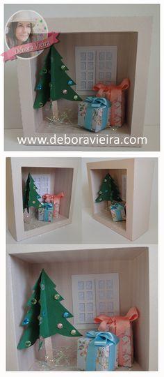 Quadro de papel, tamanho 10cmx10cm e 4cm de profundidade. Idéias para o Natal Paper Box Template, Cricut, Silhouette, Templates, Holiday Decor, Home Decor, Paper Frames, Ideas For Christmas, Personalized Stationery