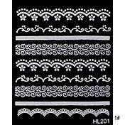 Renda 5PCS longo branco Nail Art Stickers (N ... – BRL R$ 7,10