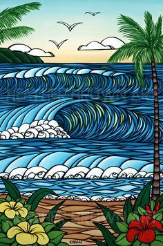 Heather Brown — Surf Artist in Kauai, Hawaii (via California) Heather Brown Art, Office Birthday, Hawaiian Art, Surfboard Art, Modern Pictures, Surf Art, Ocean Art, Surfs Up, Beach Art