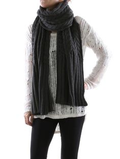 GRAY SCARF CABLE KNIT EXTRA LONG - FREE SHIPPING