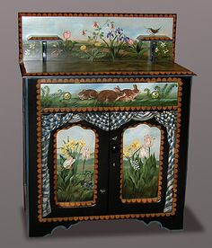 Bunny Washstand - Handpainted furniture by Dan and Marlene Coble. Just awesome.