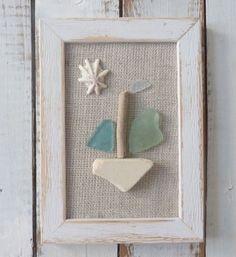 beachcomber sea glass sea pottery shell driftwood sailboat - nautical home decor - beach house