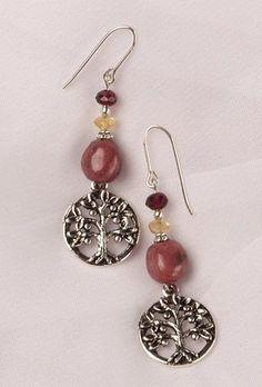Earrings - Tree of Life with Rhodonite