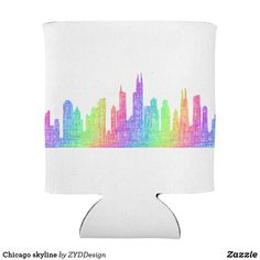 Chicago skyline bottle cooler #rainbow #Chicago #Illinois #skyline #colorful #drinkware #BottleCooler #drink #multicolored  #party #partysupply #partysupplies #art #CityArt #sketch #city