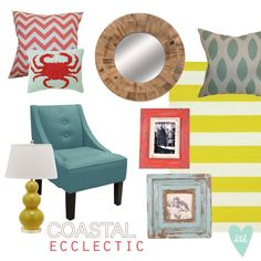 Preppy Coastal Ecclectic Home Inspiration by DesignLovesDetail.com. Click image for link to items.