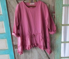 linen blouse top tucked with roses in rose pink by linenclothing