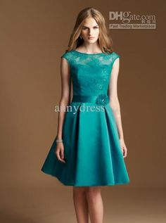 Wholesale 2013 Short A-line Green Bateau Lace Bodice with Flower Knee-length Satin Briedsmaid Dresses, Free shipping, $78.4-100.8/Piece | DHgate