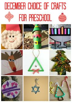Try these fun and easy December crafts for preschoolers - this selection of preschool crafts includes ideas both for Hanukkah and Christmas holidays. Christmas Activities For Kids, Preschool Christmas, Craft Activities For Kids, Christmas Crafts, Christmas Decorations, Christmas Ideas, Craft Ideas, Preschool Age, Preschool Crafts