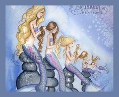 Items similar to My Mermaid Girls Family Print from Original Watercolor Painting by Camille Grimshaw on Etsy Mermaid Drawings, Mermaid Art, Mermaid Pics, Mermaid Paintings, Mermaid Tattoos, Watercolor Paintings, Original Paintings, Mermaid Bedroom, Girl Artist